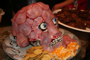 place cold cuts onto jell o cut into smaller strips first if desired or if they are not sticking well shaved ham generally provides the most realistic - Halloween Meat Recipes
